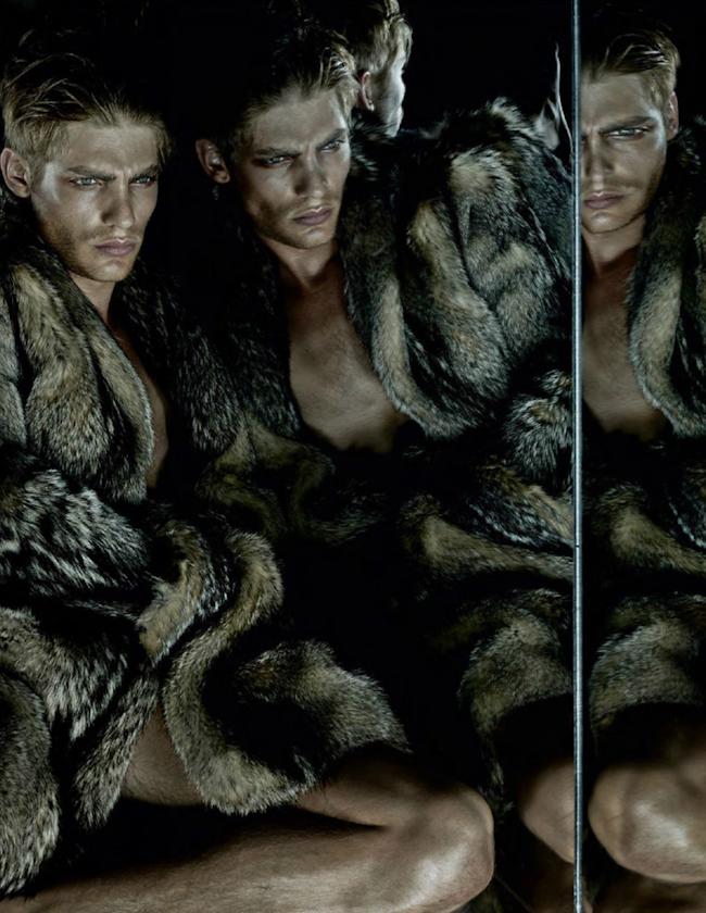 VOGUE HOMMES MAGAZINE Baptiste Radufe, Filip Hrivnak, Max Esken & Thibaud Charon in The Predators by Solve Sundsbo. Beat Bolligner, Fall 2014, www.imageamplified.com, Image Amplified