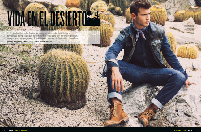 FHM COLLECTIONS SPAIN Humbert Clotet in Desert Life by Fernando Gomez. Sofia Marino, Fall 2014, www.imageamplified.com, Image Amplified