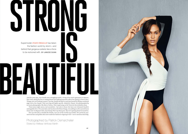 SELF MAGAZINE Joan Smalls in Strong Is Beautiful by Patrick Demarchelier. Melissa Ventosa Martin, October 2014, www.imageamplified.com, Image Amplified