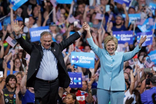In Miami, Kaine joins Clinton on stage for first time as