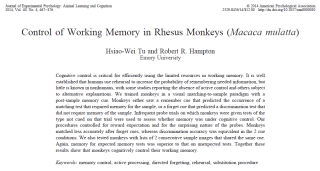 Journal of Experimental Psychology: Animal Learning and Cognition: Control of Working Memory in Rhesus Monkeys (Macaca mulatta)