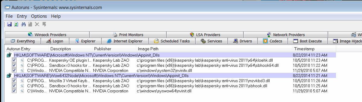 AutoCAD 2015 Application Error (0xc0000142) + Autoruns for Windows