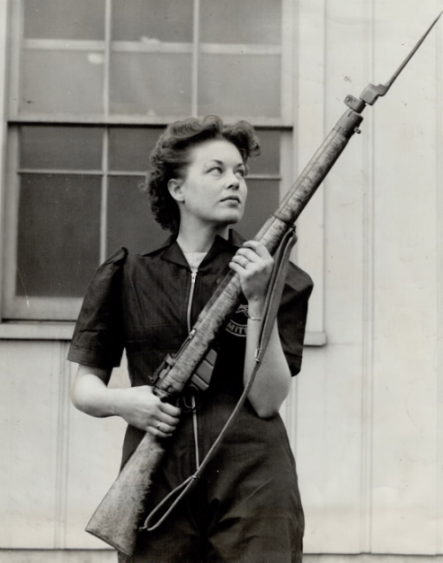 1942 photo: Trigger Guard Inspector at Small Arms, Mrs. Norma Sieffert