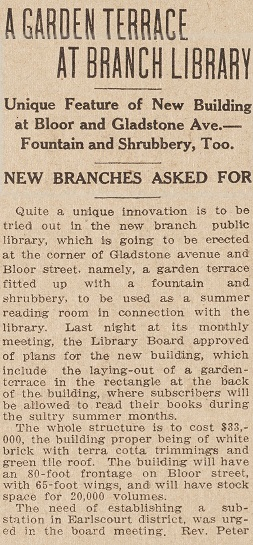 Article about Bloor Gladstone Dovercourt Branch Library from the Toronto Star Dec 13 1911 page 7