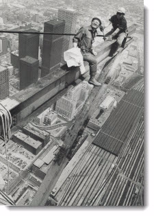Workmen erecting the steel base for the new Top of Toronto restaurant at the Sky Pod level last year grinned back at photographer Spremo balanced on a steel girder just above them, 1974