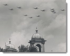 Zooming in formation over the C.N.E., the famed R.A.F. Dambuster squadron which blasted vital German Mohne and Eder dams, thrilled Canadians Tuesday