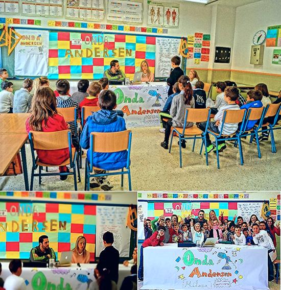 Norberto Domínguez y Patricia Alba, Delegada de Educación, Cultura y Deporte en Málaga, respondiendo a preguntas de los estudiantes del CEIP 'Hans Christian Andersen'.