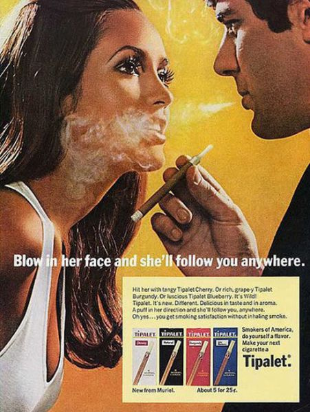 Ads smoke in face