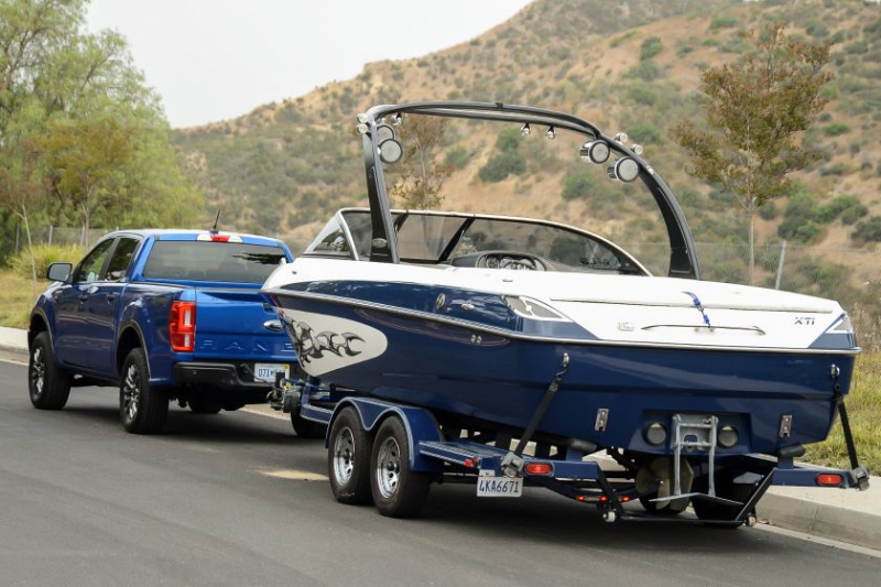2019 Ford Ranger Towing Boat Rear View