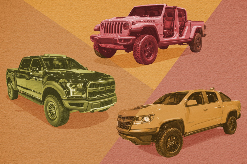 Illustration of Jeep Gladiator Mojave, Ford F-150 Raptor and Chevrolet Colorado ZR2