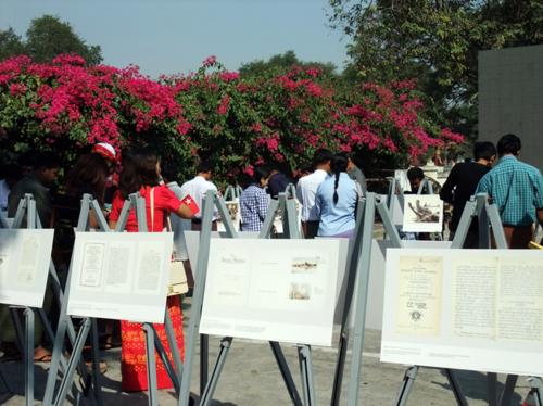 Visitors at the displays at the Irrawaddy Literary Festival, Mandalay. © British Library
