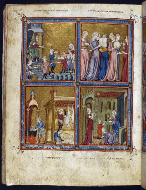 The Golden Haggadah. Miriam and her maidens rejoicing (top right); distribution of haroset ('sweet meats') by the master of the house (top left); preparations for Passover (lower right and left). BL MS Add. 27210, f. 15r.
