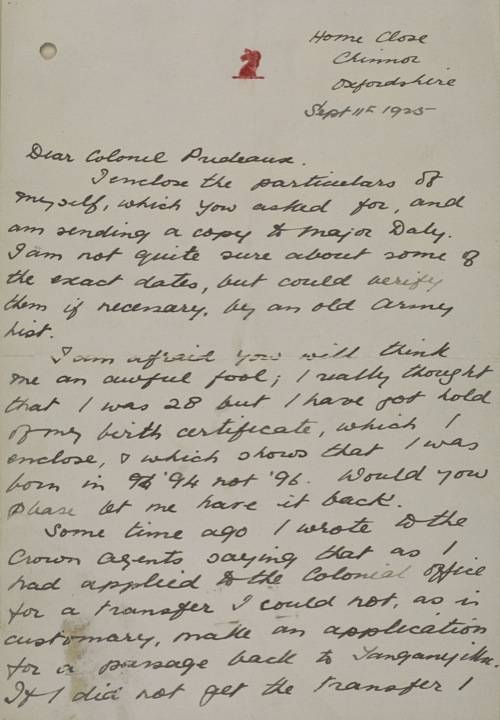 First page of a letter sent from Belgrave to Prideaux, 11 September 1925 (IOR/R/15/1/362 f. 1E)