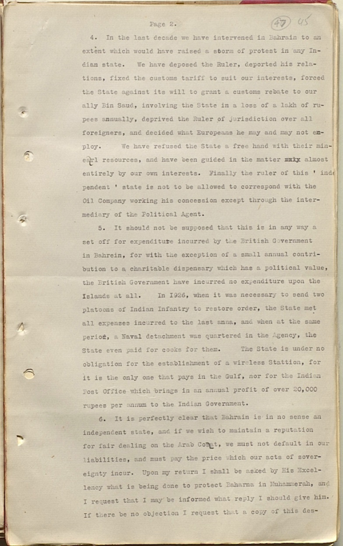 Second page of a letter from Charles Geoffrey Prior, the Political Agent in Bahrain, to Cyril Charles Johnson Barrett, the British Political Resident in the Persian Gulf, 27 September 1929 (IOR/R/15/1/322, f. 47)