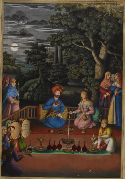 Scene from the tale of King Turktāzī and Turktāz, queen of the faeries, as told by the Princess of India in the Haft Paykar from Shāh Ṭahmāsp Ṣafavī's Khamsah of Niẓāmī. Signed by Muḥammad Zamān, dated 1086/1675-76. For more on this painting see Some paintings by the 17th century Safavid artist Muhammad Zaman (BL Or 2265, f. 221v)