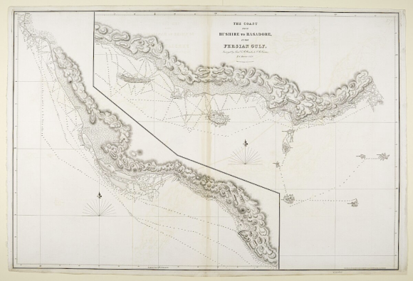 'The Coast from Bushire to Basadore, in the Persian Gulf, Surveyed by Lieuts. G.B. Brucks & S.B. Haines, H.C. Marine 1828. Engraved by R. Bateman 43 Hart St. Bloomsbury' (IOR/X/3630/27)