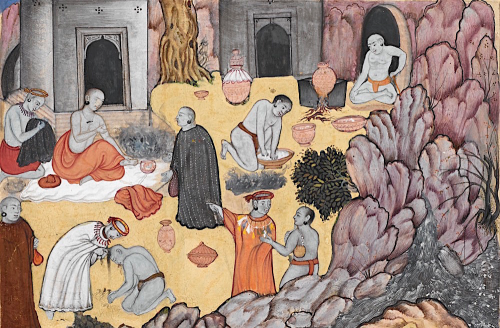 Ascetics being shaved at Gurkhattri in 1505. Detail from painting by Gobind from a copy of ʻAbd al-Rahim Khan's Persian translation of the Baburnamah, 1590-92 (British Library Or.3714, f.197r)