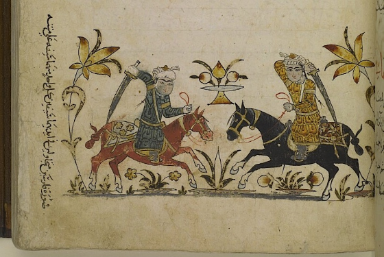 (f. 135r) 'Illustration of two horsemen wheeling around, with a sword in each one's hand on the horse's back'.
