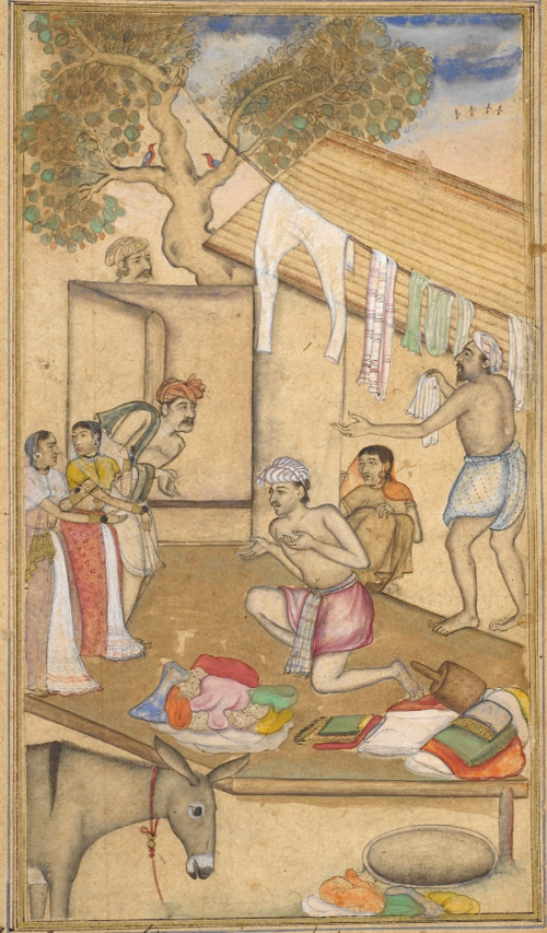 One of Rama's servants overhears a washerman quarrelling with his wife. Episode from the 14th book, the Aśvamedhikaparva (ʻhorse sacrifice'). Painting attributed to Da'ūd, brother of Daulat (Or.12076, f.48r)
