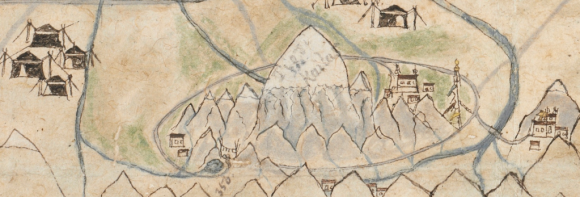 Detail from the map above, showing Mt. Kailash and surroundings in great detail with the circumambulation path, monasteries, a lake, streams and a tall prayer flag pole