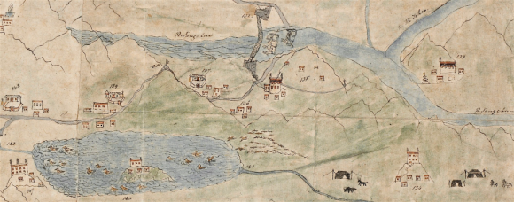 Detail from the map above, showing amongst others the Yamdroktso Lake, the Yarlung Tsangpo River, several monasteries and mountain passes. The Chaksam ferry is depicted in great detail – showing the iron chain bridge, a horse head ferry and a hide boat