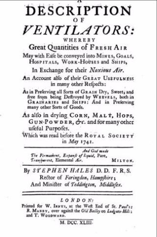 A description of ventilators Stephen Hales title page