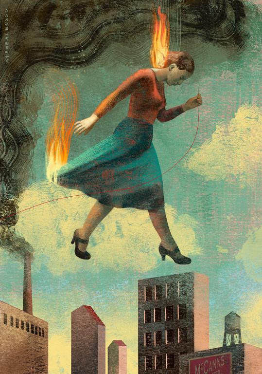 "Portada para el libro ""Burning Girls"", de Veronica Schanoes, publicado por Tor.com. Balbusso 2013"