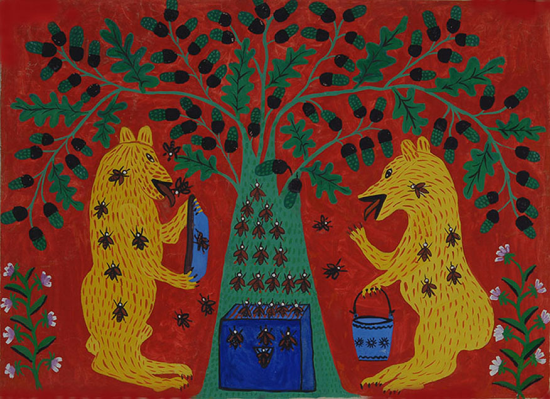 Stylised painting of two bears eating honey from a beehive while the bees swarm around them