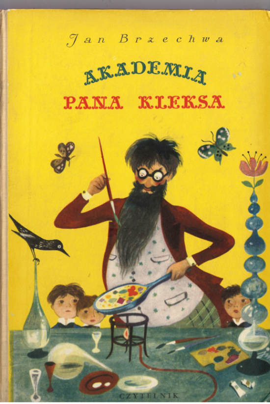Cover of 'Akademia pana Kleksa' showing Mr Inkblot cooking over a bunsen burner