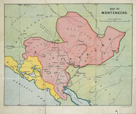 Coloured 19th-century map of Montenegro