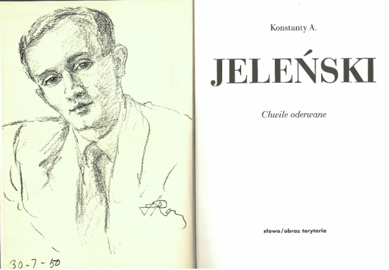 Title page of 'Chwile  oderwane' with a frontispiece portrait of Konstanty Jelenski