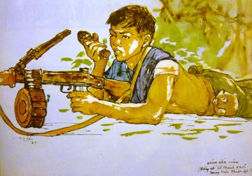 Fight till the end. Silk painting. Artist: Cố Tấn Long Châu. Báo Ảnh Việt Nam, 1967, no.115. British Library, SU216(2)