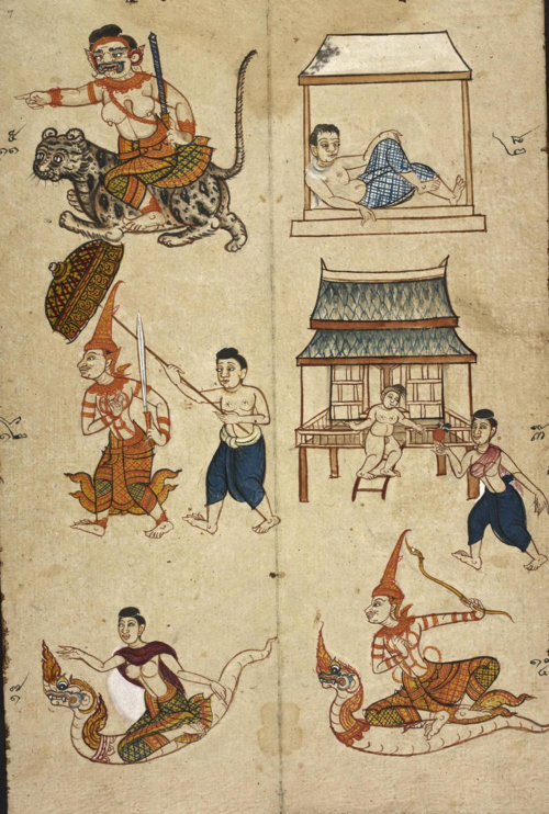 British Library, Or.4830, folio 7, containing illustrations that represent possible fates of a person born in the year of the tiger.