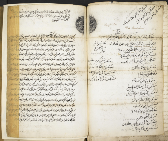 A second copy of the Malay text of the first Sulu Treaty of 28 January 1761, ratified in September 1761by 24 nobles of Sulu listed on the right-hand page. British Library, IOR: H/629, pp.460-461.