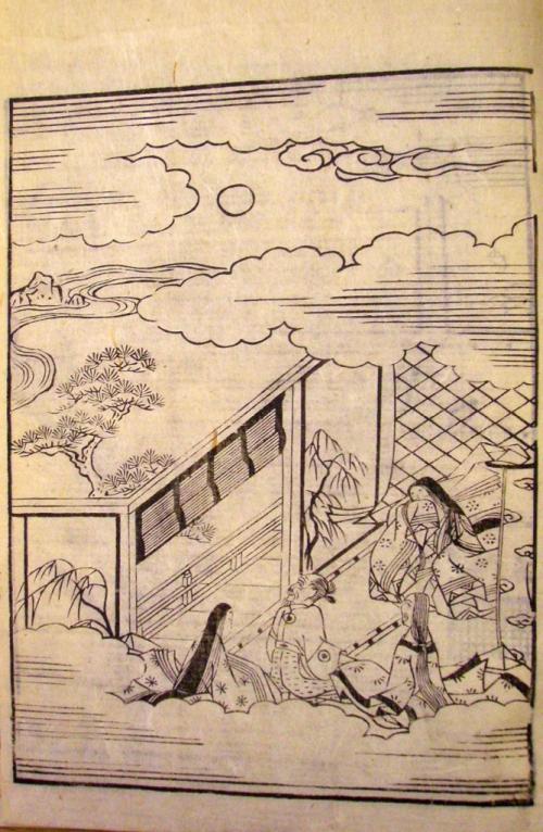 Princess Kaguya and the mid-autumn moon. 'The Tale of the Bamboo Cutter' (繪入竹とり物語, Eiri Taketori monogatari), printed book, prob. 18th century. British Library, 16055.c.31.