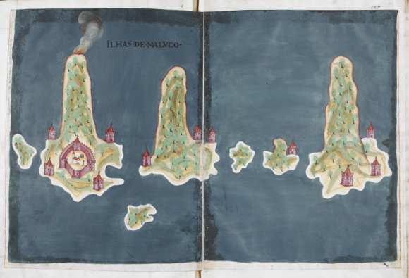 Ilhas de Maluco, 'The islands of the Moluccas', showing from left to right the islands of Hiri, Ternate, Maitara, Tidore, Mare and Makian, with an interesting treatment of perspective which emphasises the height of the volcanoes which rise from the sea to form each of the islands. Livro do Estado da India Oriental, by Pedro Barreto de Resende, 1646. British Library, Sloane MS 197, ff.395v-396r.