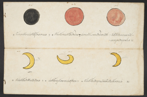 Illustrations of possible appearances of the moon. Tamra phichai songkhram (Divination manual for the prediction of wars and conflicts). British Library, Or.15760, f.25