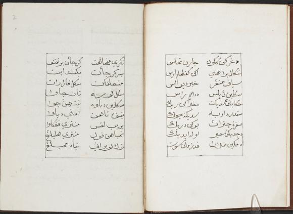 Opening pages of Syair Jaran Tamasa, copied by Ismail, 1804. British Library, MSS Malay B 9, ff. 1v-2r