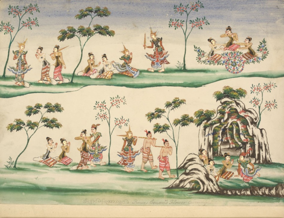 Prince Inaung's flower carriage. British Library, Or. 3676, f. 2