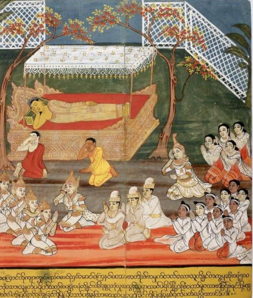 The Buddha in Mahaparinirvana (reaching the end of suffering) at Pava. British Library, Or. 14298, f.18.