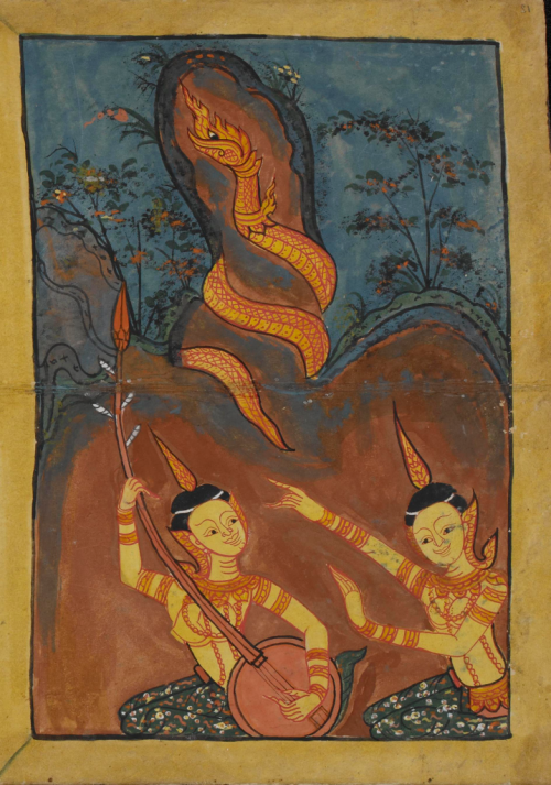 Thai folding book dated 1841 A.D. containing extracts from the Abhidhamma, Suttas and the Mahābuddhagunā. British Library, Or 15925, f. 12