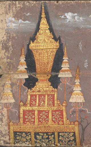 A lavishly gilded funeral casket with triple-tiered umbrellas on a high pedestal. Illustration in a 19th century Thai funeral book from central Thailand containing a selection of Buddhist texts and the legend of Phra Malai. British Library, Or.15258, f. 93