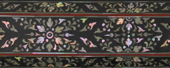 Wooden manuscript board with black and red lacquer decorations as well as mother-of-pearl inlay, belonging to a Northern Thai Buddhist palm leaf manuscript dated 1851. Gift from Doris Duke's Southeast Asian Art Collection. British Library, Or.16077