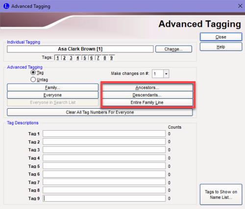 Advanced Tagging screen