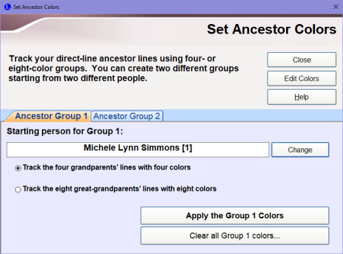 Set Ancestor Colors dialog box