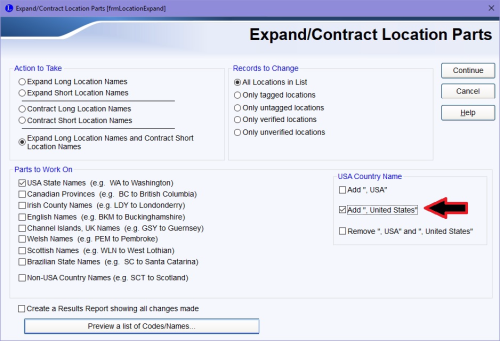 Expand and Contract Location Parts dialog box