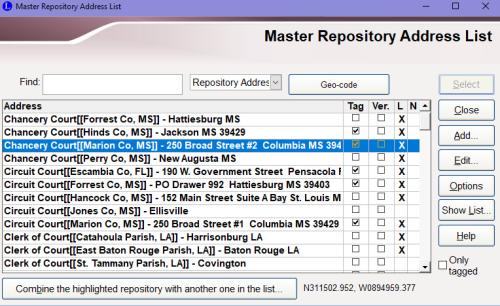 Master Repository Address List