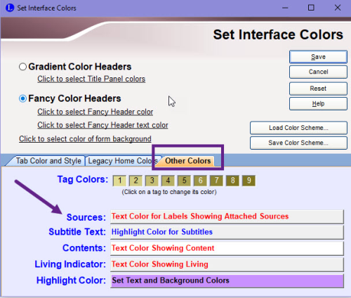 Set Interface Colors dialog box
