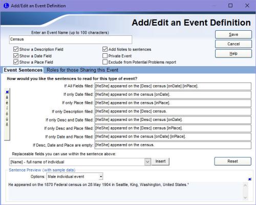 Add/Edit an Event Definition screen
