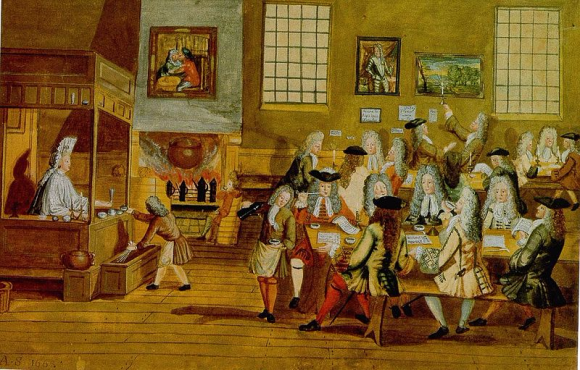 800px-Interior_of_a_London_Coffee-house,_17th_century